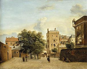 A view of a small town square with figures promenading ('In Cologne')