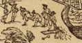 Jens Munk voyage account (Navigatio Septentrionalis, 1624) - 6 fig 3 - Winter Harbour at Churchill River - 2 detail.png