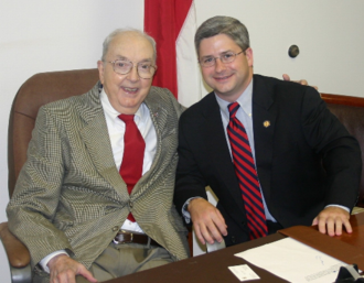 Helms with Patrick McHenry in 2005 Jesse Helms and Patrick McHenry.png