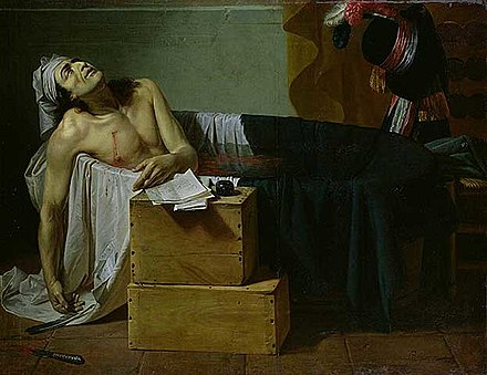 The Death of Marat by Guillaume-Joseph Roques{1793}; note the knife lying on the floor at lower left Joseph Roques - La mort de Marat - 1793.jpg