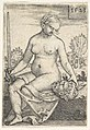 Judith, seated nude with a sword in her right hand, gazing down at the head of Holofernes in her left hand MET DP828545.jpg
