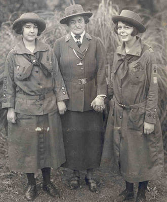 Girl Scouts of the USA - Juliette Gordon Low (center), with two Girl Scouts.