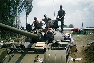Military history of North Macedonia - A Macedonian Army reservist tank crew during the 2001 insurgency in the country.
