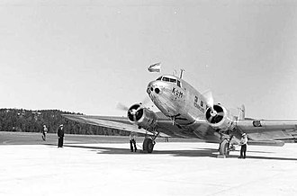 Oslo Airport, Fornebu - This KLM DC-2 has just become the first aircraft to land at Fornebu after the opening