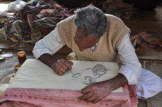 Kalamkari - A kalamkari artist at work.