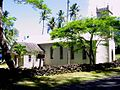 Photograph of the church established by Father Damien at the Kalaupapa Leprosy Settlement, behind a low stone wall and surrounded by palm and other trees.
