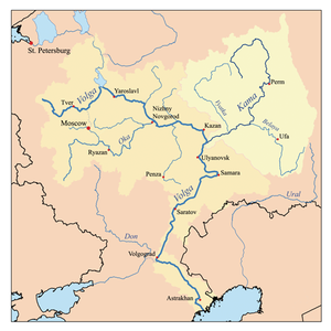 Kama River - Map of the Volga's watershed with the Kama;s watershed highlighted