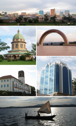 From left to right: Kampala skyline, Bahá'í House of Worship on Kikaaya Hill, Uganda National Mosque, Makerere University main building, skyscraper in central business district, and view over Lake Victoria