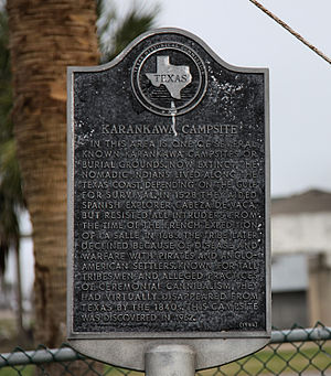 Karankawa people - Karankawa Indian campsite and burial ground historical marker located in Jamaica Beach on the west end of Galveston Island