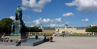 Baden - Monument to Charles Frederick, Grand Duke of Baden in front of Karlsruhe Palace