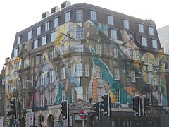 Karpo and Megaro Hotel building mural at Kings Cross