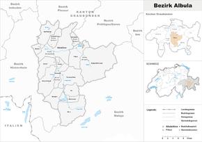 Karte von Bezirk Albula