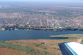 Aerial view of Kasane with Chobe River Top right corner Kasane Airport