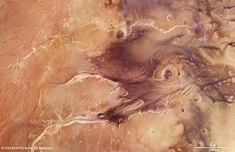 Kasei Valles - Area around Northern Kasei Valles in Mars Express images.