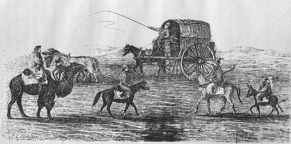 Kashgar road scene, 1870s