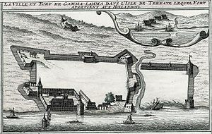 Fort Kastela - An anonymous Dutch view of Spanish Kastella in 1607. The original Portuguese fort is shown in the bottom left.