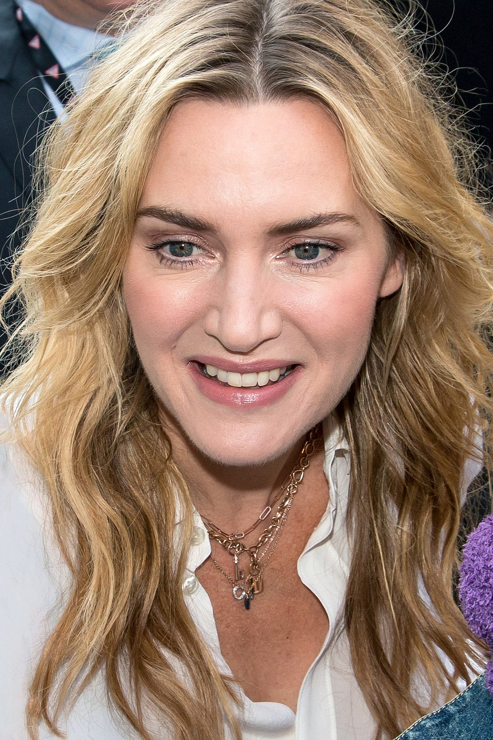 A close-up shot of Kate Winslet's face in 2017