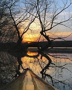 Kayaking by Sunset, Lake Okmulgee OK.jpg