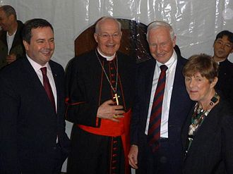 Marc Ouellet -  Marc Ouellet with David Lloyd Johnston, and Jason Kenney the night before the Papal inauguration of Pope Francis