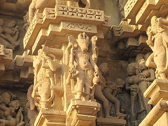 Duladeo Temple - Nandi, devas and erotic sculptures on the external walls
