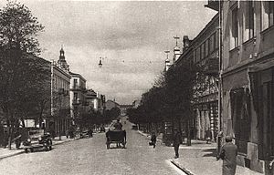 Kielce pogrom (1918) - Kielce in the 1920s, Sienkiewicza Street where the Polish Theatre was located