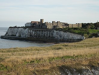 North Foreland - North Foreland lighthouse is visible on the right of the photo of Kingsgate Castle.