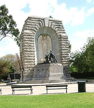 National War Memorial (South Australia) - The obverse face of the National War Memorial, as viewed from the corner of North Terrace and Kintore Avenue