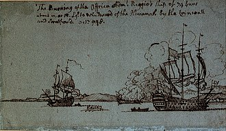 Battle of Havana (1748) - Drawing showing the burning of the dismasted Africa by the Cornwall and Strafford