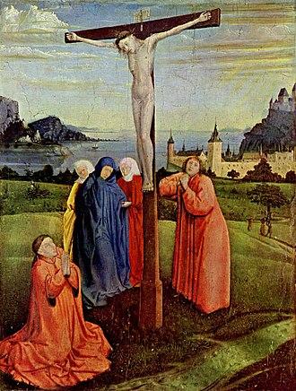 Tau Cross - Crucifixion scene with a tau cross, by Konrad Witz (1400–1447)