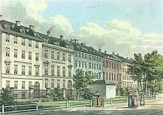 Kronprinsessegade - Kronprinsessegade seen from Rosenborg Castle Garden. Painting by H. G. F. Holm, c. 1830