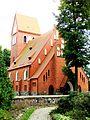 Kruszyn, kościół ewangelicki, ob. rzym.-kat. fil. p.w. św. Kazimierza, - otoczony kamiennym murem.JPG