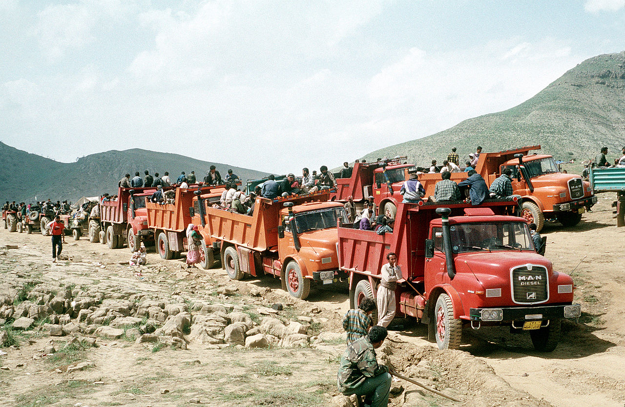 Kurdish refugees travel by truck, Turkey, 1991.jpeg