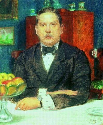 Б. Кустодиев «Портрет художника К.А Сомова», 1914.