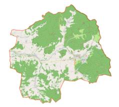 """Mapa konturowa gminy Lądek-Zdrój, po prawej znajduje się punkt z opisem """"Zakład przyrodoleczniczy """"Wojciech"""""""""""