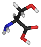 Stick model of the serine molecule
