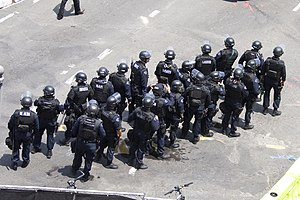 Militarization of police - A large group of Los Angeles Police Department (LAPD) officers in tactical gear at a Lakers parade in 2009