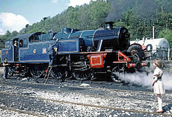 Fairburn 2-6-4T No. 2085 in Caledonian Railway colours being serviced by volunteers of the Lakeside Railway Society at Haverthwaite L&HR in 1976