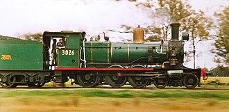 New South Wales C30T class locomotive - Lachlan Valley Railway locomotive 3026 near Barmedman in 1983