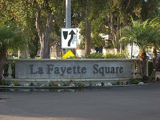 Lafayette Square, Los Angeles - The LaFayette Square neighborhood sign at St. Charles Place