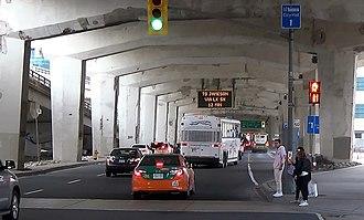 Gardiner Expressway - The underside of the Gardiner, with Lake Shore Boulevard running through it