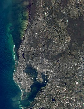 A natural color satellite image of the Tampa Bay Metropolitan Statistical Area. Composite image created from November 2019 imagery with NASA's Landsat 8 satellite.