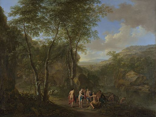 Landscape with the Judgement of Paris by Jan Both and Cornelis van Poelenburch