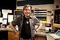 Larry Monroe, in the KUT-FM control room, 2009.jpg
