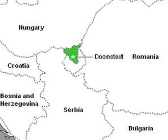 Latveria - A rendition of the nation of Latveria (in green) and its capital Doomstadt. Symkaria borders along the south.