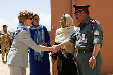 Laura Bush with Afghan National Police in 2008.jpg