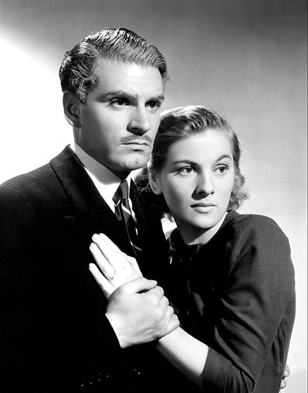 Olivier with Joan Fontaine in the 1940 film Rebecca Laurence Olivier Joan Fontaine Rebecca.JPG