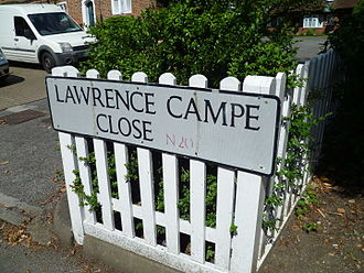Lawrence Campe - Lawrence Campe Close sign, London N20.