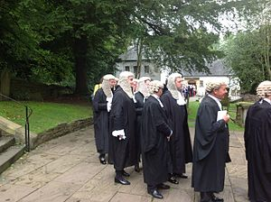 Court dress - Barristers (short wig) and Queen's Counsels (in full ceremonial dress with long wig)