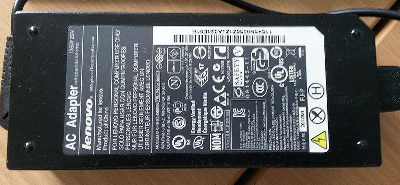 File:Lenovo Power Adapter AC 135W 20V.jpg
