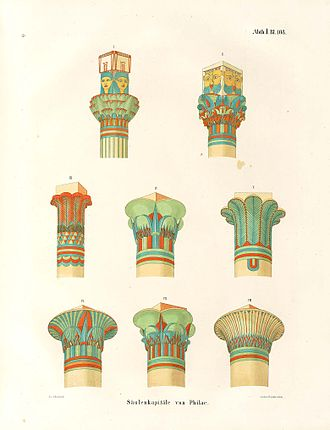 Ancient Egyptian architecture - Drawings of the types of the architectural capitals specific for the Ancient Egyptian civilization, drawn between 1849 and 1859 by the egyptologist Karl Richard Lepsius